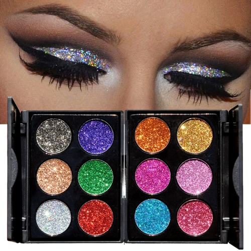 HANDAIYAN 6Pcs Diamond Golden Color Powder Eyeshadow & Nail Glitter Colors Mixed Shiny Eye Shadow Kit