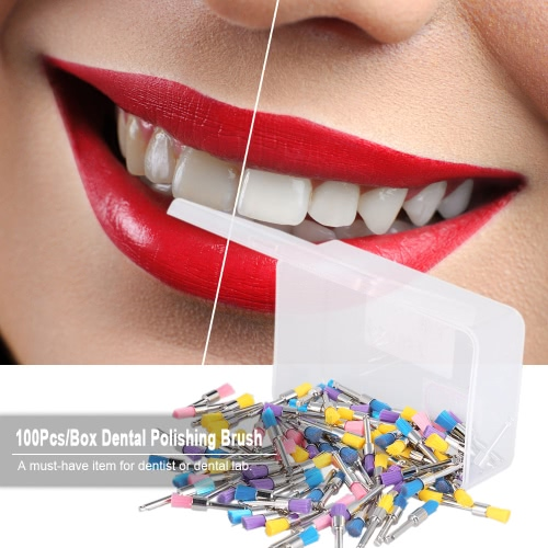 100Pcs/Box Dental Nylon Polishing Brush Latch Flat Prophy Cup Brush Polisher Colorful Dental Lab Tool