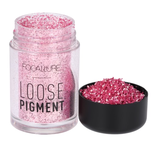 FOCALLURE 1Pc Sombra de olhos Glitter Powder Sombra de olhos Shimmer Loose Pigment Powder Eye Lip Cosmetic 12 Cores opcionais