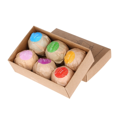 Bombas de baño orgánicas hechas a mano de 6 piezas Sales de baño de burbujas Aceite esencial de bolas SPA Stres