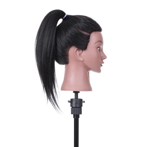"""Cabeça de treinamento de cabeleireiro de 19 """"Cabeça de manequim Cosmetologia Cabeça de manequim 80% Cabelo real + 20% de fibra de alta temperatura Preto"""
