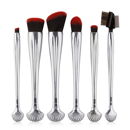 6pcs Silver Shell Cosmetic Makeup Brushes Set Foundation Power Contour Eye Shadow Brow Blending Beauty Make Up Tool Kits