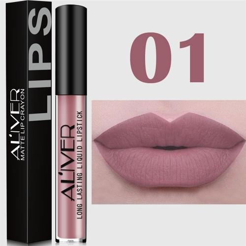 ALIVER Lipstick impermeável de longa duração Matte Gloss Sparkling Shades