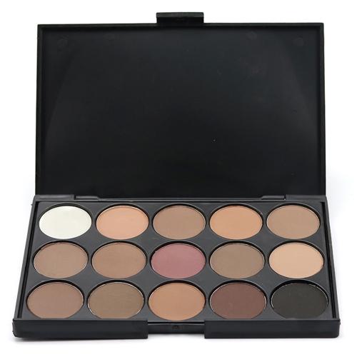 Nagelneu 15 Farbe Matte Pigment Glitter Lidschatten-Palette Kosmetik Make-up Set Nude Lidschatten