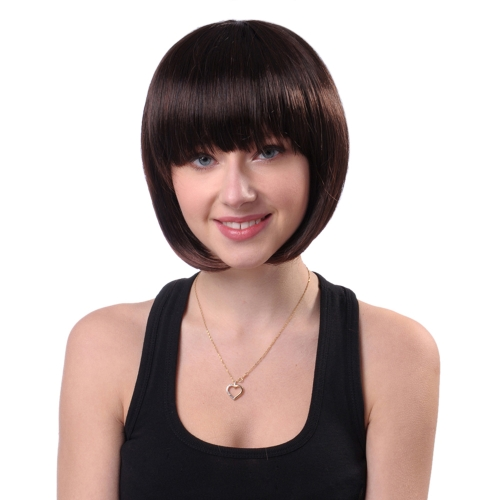 "11 ""Hair Wig Woman Short Straight Hair Hair Hairpiece Hair Extension Cosplay Hair Hairdressing Tool Темно-коричневый"