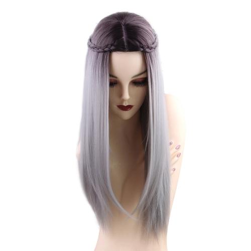 1pc Peruca Long Straight Gradient Cor Cinza com tranças brancas Cosplay Hair Costume Heat Resistant Woman