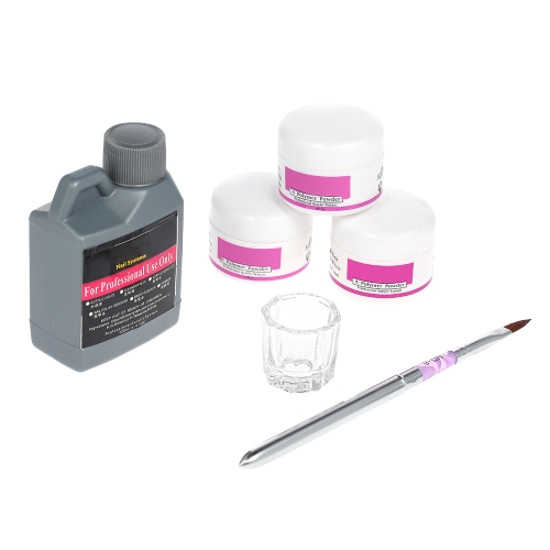 Nail Art Tools DIY Kit Professional Nail Acrylic Liquid 3pcs Powder Pen Crystal Cup Dish Manicure Salon
