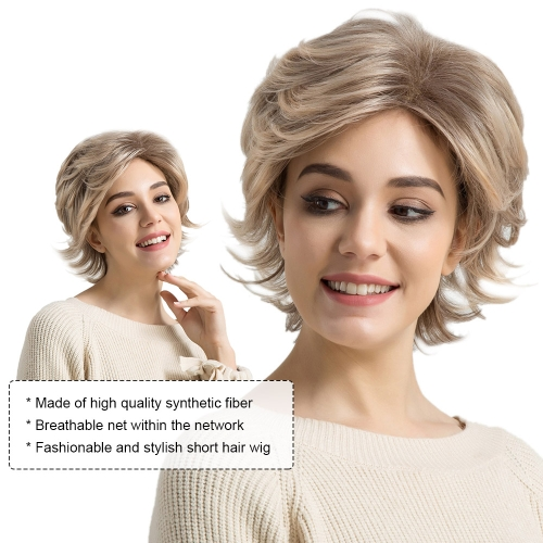 """14"""" Wig Short Hair Wigs Wavy Texture Short Fluffy Wig Brown Color Synthetic Fiber Cosplay Daily Party Wig for Women YJJ121"""