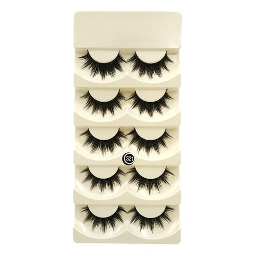 5 Paar Falsche Wimpern Lange Schwarze Dicke Gefälschte Wimpern Natürliche Weiche Make-Up Wimpern Kreuz Handgemachte Falsche Wimpern