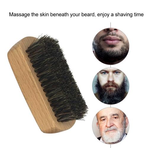 1pc Men's Boar Bristle Beard Brush Mustache Shaving Brush Facial Hair Brush Bamboo Round Male Shaving Brush W6091