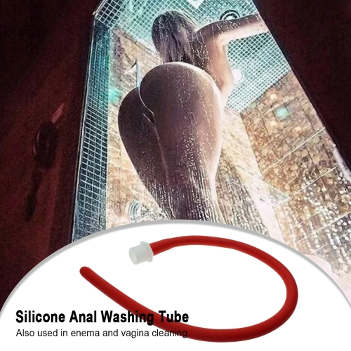 50cm Silicone Anal Washer Anus Douche Enema Tube Anal Butt Plug Cleaner Erotic Women Men Sex Toys (Red)