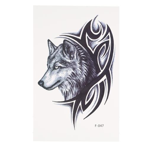 ファッションウォータープルーフ動物タトゥーステッカーオオカミオイラーキャットホーズフォーンボディアートタトゥーパターン