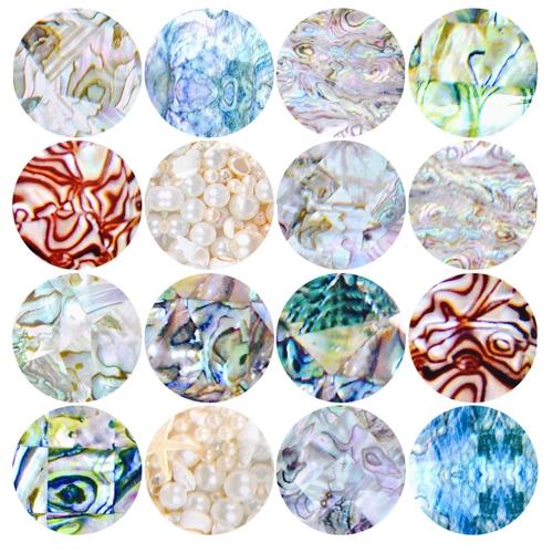 16 pcs Novo Manual DIY Nail Art Adesivos Shell Céu Estrelado Leopardo Adesivo Decorativo