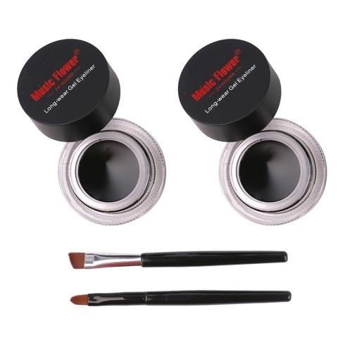 2 STÜCKE 2 in 1 Schwarz Gel Eyeliner Farben Lange Tragen Wasserdicht Eye Liner Make-Up Kit Ausgestattet mit 2 pinsel