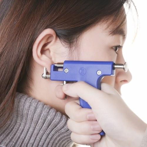 Professional Blue Stainless Steel Nose Ear Navel Body Analgesia Ear Piercer Unit Tool Kit