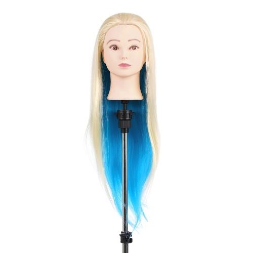 """27 """"Schaufensterpuppe Kopf Blau + Gold Friseurausbildung Kopf Haarflechten Styling Praxis Dummkopf Modell Mit Clamp"""