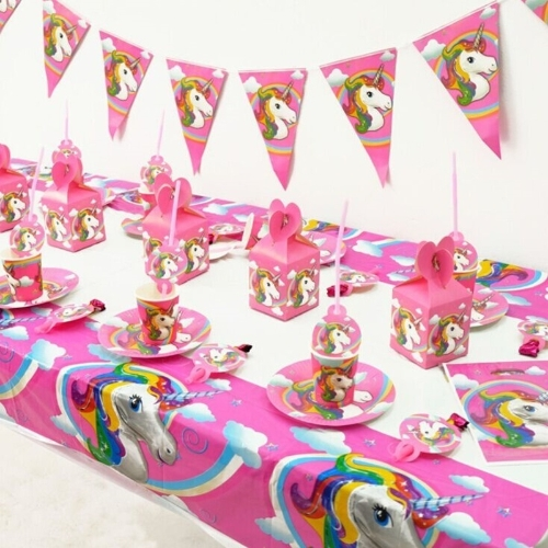 Unicorn Theme Party Decoration Happy Birthday Paper Cup Plated Hat Popcorn Box Triangle Flag 10 шт.