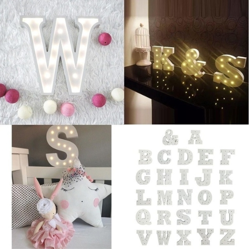 Wooden 26 Letter Alphabet Night LED Lamp Grow Light Wall Decoration For Children Bedroom Wedding Decor Size B Pure white