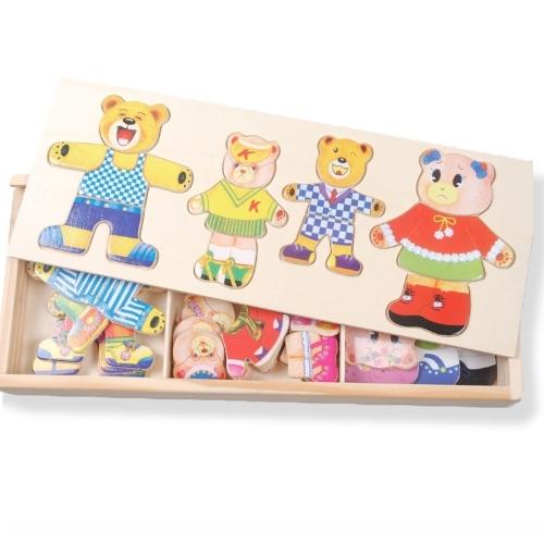 I bambini di legno dell'orso del bambino cambiano il blocchetto di costruzione 1-2-3-4 del puzzle di puzzle del ragazzo del ragazzo dei vestiti