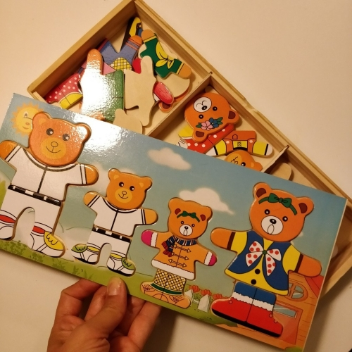Wooden baby bear children change the clothes boy baby puzzle jigsaw puzzle building block 1-2-3-4
