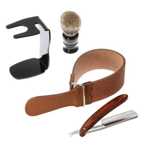 4 en 1 Straight Razor + Brocha de afeitar + Cepillo de pie + Correa de cuero Correa de afeitar para hombre Conjunto de cepillo de afeitar