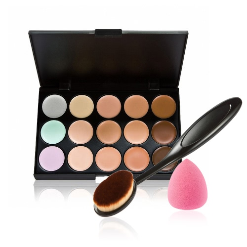 Anself 15 cores Make Up Creme Facial Camuflagem Concealer Make Up Paleta com pincel de maquiagem esponja Puff Oval para Cosmetic Powder Foundation