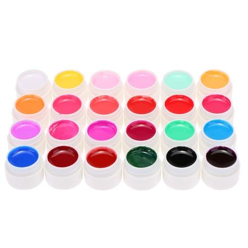 ANSELF 24X Mix reine Farben-Nagel-Gel-Polnisch-Erweiterung Profi UV Gel Set Builder Gel für Nagellack-Nagel-Kunst-Dekorationen Werkzeuge