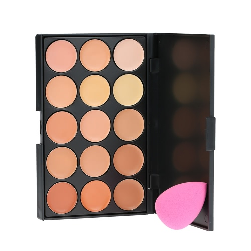 15 Colors Abody Make Up Cream #1 Facial Camouflage Concealer Contour Foundation Cream with Sponge Powder Puff Cosmetic Tool Mini Size for Women