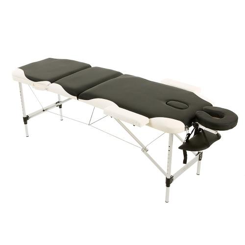 Abody 3 Falten tragbare Massagetisch 84''L Therapie-Massage-Bett Gesichts SPA Bett Tattoo Schönheitssalon Gerät Schwarz + Weiss