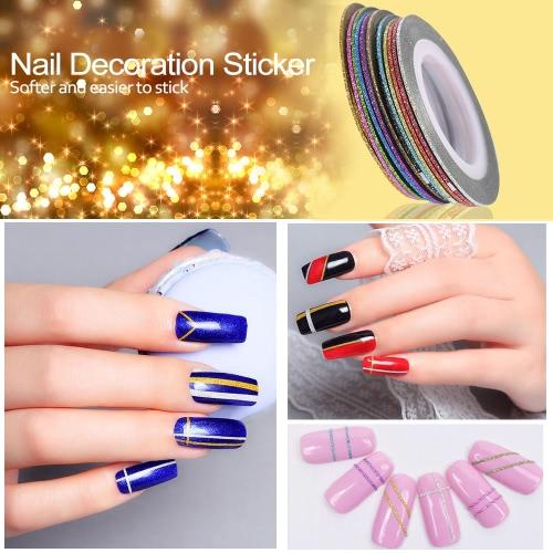 Nail 12st Mischfarben Kunst-glänzende Aufkleber Rolls Thin Striping Tape-prickelnde Linie DIY Styling Nagel-Kunst-Dekoration-Aufkleber Mode-Entwürfe