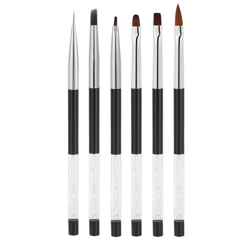 1pc Nagel-Kunst-Shading-Bürsten-Feder-Nagel-Schatten-Bürste Nylonbürste Haar weißen Strass Acryl Griff Zeichnungs-Feder DIY Nagel-Werkzeuge