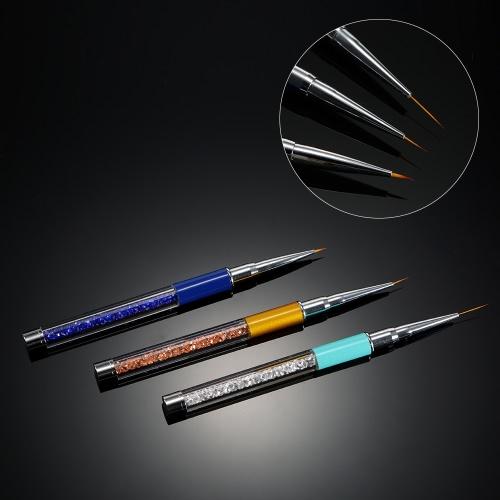 3pcs unha ferramenta de pintura da escova da arte 7/9/11 milímetros de cristal Acrílico Nail Art Pen Liner Gel UV pintura Linha escova de nylon Pen Cabelo Manicure Prego Liner