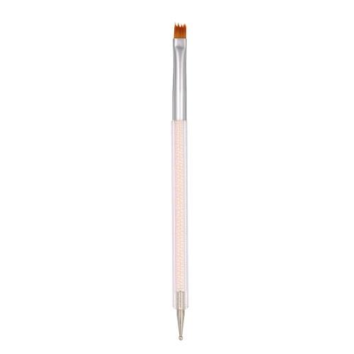 2 Пути ногтей французский маникюр Pen Кисть Nail Живопись Pen Ставя точку Нейлон чистящая головка акриловые Nail Art Pen Rhinestone Ручка DIY Инструменты для ногтей # 2