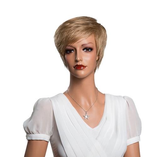 11「ショートヘアの女性ライトブラウンウィッグフル頭本物の人間の髪の毛のかつらコスプレパーティーデイリーマスカレードコスチュームヘアエクステンションツール