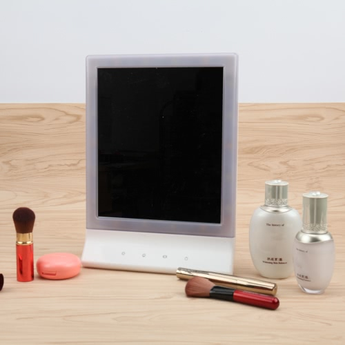 Image of High Quality Fashion Adjustable 18 LED Light Lady Girl Beauty Cosmetic Square Vanity Desk Stand Hanging Makeup Mirror ABS Touch Screen Brightness Adjustable USB
