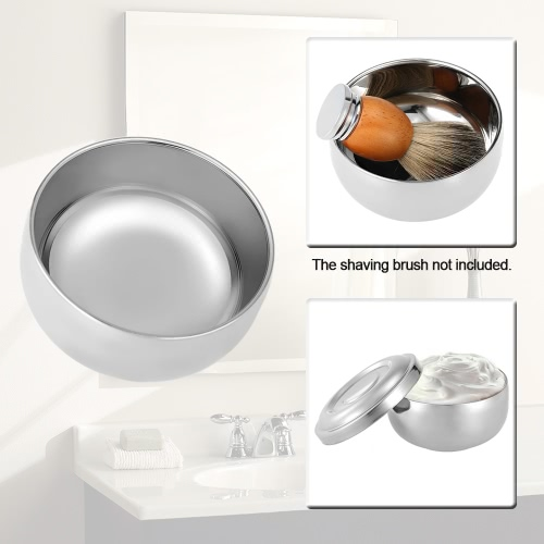 Shaving Brush Bowl Stainless Steel Shave Cream Soap Bowl Shaving Mug Male Face Cleaning Soap Bowl