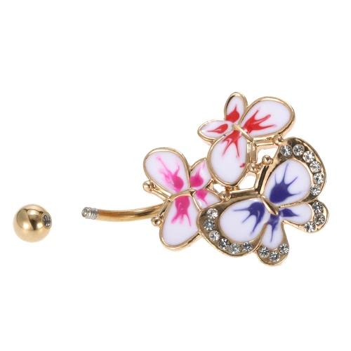 Belly 1Pc borboleta Botão Umbigo Anel Bar piercing jóias de aço inoxidável Piercing Bar