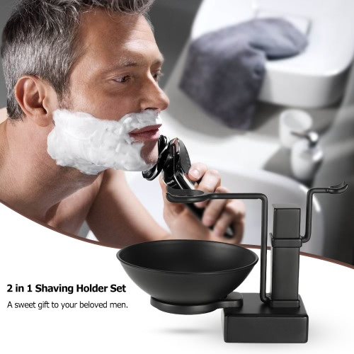 2 in 1 Stand Holder Set for Shaving Brush Razor & Soap Bowl Mug Cup Set Shaving Kit Alloy Black Male Facial Cleaning Tool W4232