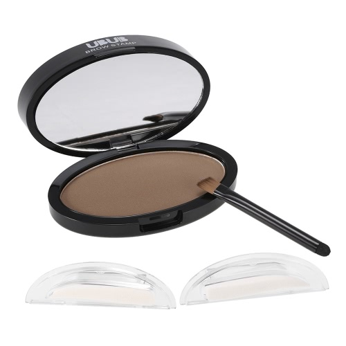 UBUB Brow Stamp Powder Eye Brow Straight United Enhancer Mit 1 Paar Brauen Briefmarken Pinsel Spiegel # 1 Grau