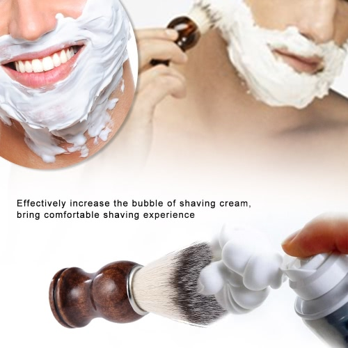 Beard Shaving Brush Shaving Dusting Tool Men Wooden Handle Nylon Hair Shaving Razor Cleaning Tool Facial Beard Cleaning Shave Tool