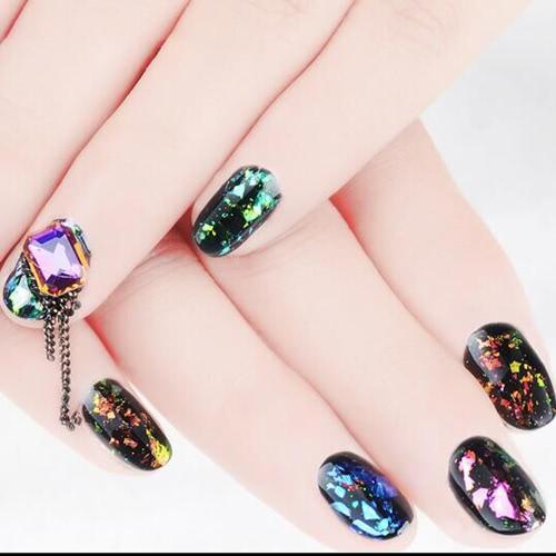 Nail Glitter Paillette Manicura Brocade Polvo Transparente Espejo Estrellas Glitter Oro Sequins Polvo Nail Art Decoración
