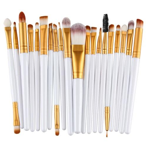 20PCS Berufsaugen-Schatten-Grundlage-Augenbraue-Lippenbürste-Verfassungs-Bürsten-Werkzeug-Toilettenartikel-Installationssatz Wolle-Entwurf Pinceau Maquillage Professionnel