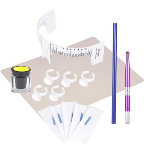 Kit de microbadeira de sobrancelha Conjunto de tatuagem de sobrancelha com 5 agulhas Régua de sobrancelha Pigmento de sobrancelha Prática de pele para tatuagem de sobrancelha Maquiagem permanente