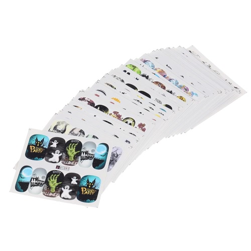 48 Blätter Nail Sticker Set Halloween Gemischte Muster Nagel Papier Spitze Nail Art Styling Set DIY Wasserzeichen Maniküre Tattoos