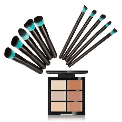 Huamianli Maquillaje Cosméticos Kit 6 colores Concealer Contorno Paleta + 10Pcs cepillos cosméticos Set Cara Maquillaje Crema Primaria Herramientas