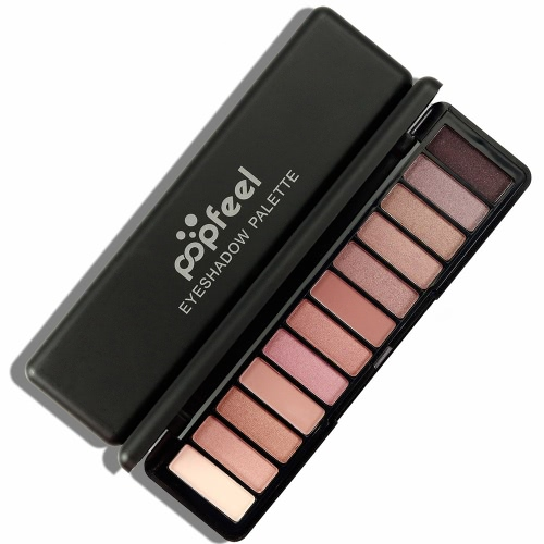 Popfeel 12 cores Sombra para os olhos Paleta Matte Shimmer Pó de sombra de olho Pintada de maquiagem de pigmento de sombra de longa duração