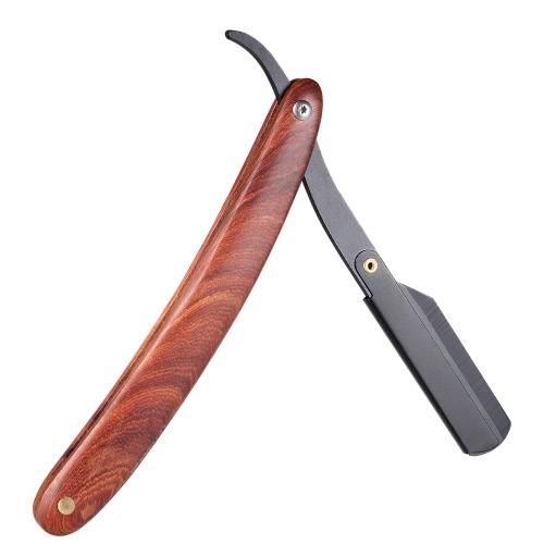 Straight Razor Manual Edge Razor Edelstahl Falten Rasieren Rasiermesser Wooden Handle Blade nicht im Lieferumfang enthalten
