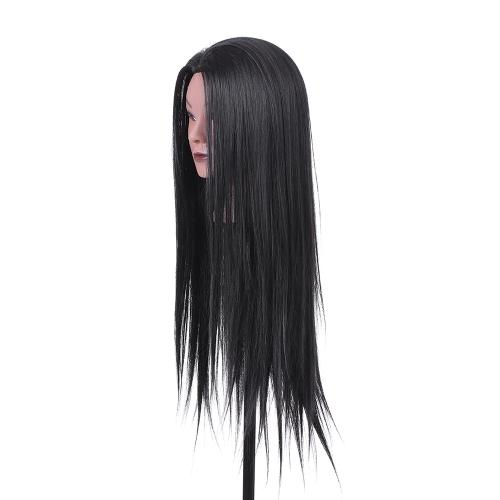 """23 """"美容師のトレーニングヘッドダミーヘッドの美容マネキンヘッド30%リアルヘア+ 70%高温繊維ブラック"""