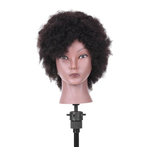Афро-манекенский руководитель по парикмахерскому искусству Head for Practice Styling Braiding Афро-американский манекен с 100% человеческими волосами Черный
