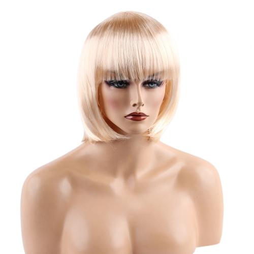 """11 """"Haar Perücke Cosplay Haarteil Frau Kurze Glatte Haare Mädchen Haarverlängerung Haar Friseurwerkzeug Rosa"""